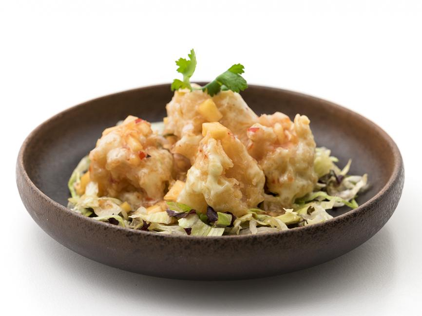 JetDine Menu F20 - Wasabi Prawns with mango salsa
